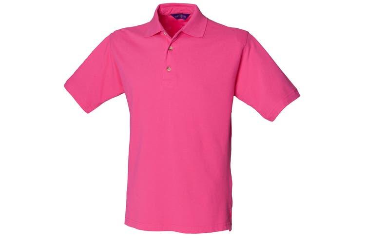 Henbury Mens Classic Plain Polo Shirt With Stand Up Collar (Fuchsia) (XL)