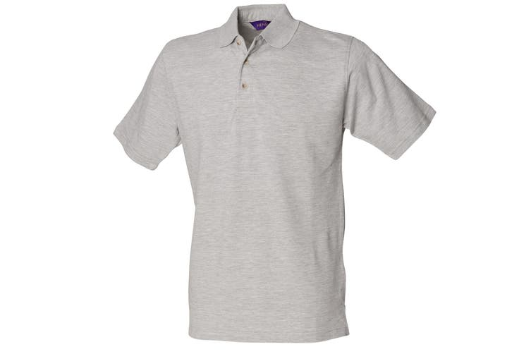 Henbury Mens Classic Plain Polo Shirt With Stand Up Collar (Heather Grey) (2XL)