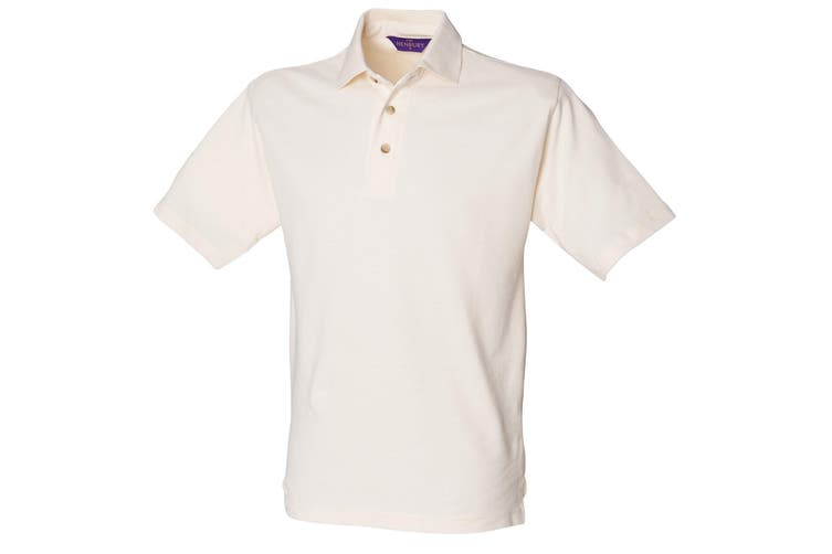 Henbury Mens Classic Plain Polo Shirt With Stand Up Collar (Cream) (S)