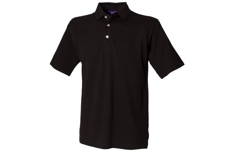 Henbury Mens Classic Plain Polo Shirt With Stand Up Collar (Black) (XL)