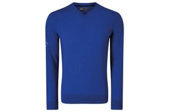 Callaway Mens Ribbed V Neck Merino Sweater (Surfing Blue) (S)