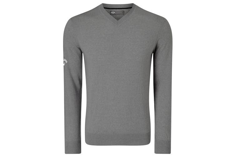 Callaway Mens Ribbed V Neck Merino Sweater (Griffin) (L)