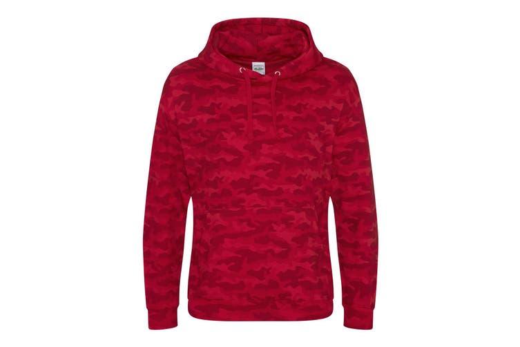 AWDis Mens Camo Hoodie (Red Camo) (XL)