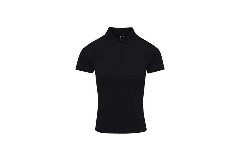 Premier Womens/Ladies Coolchecker Plus Piqu Polo With CoolPlus (Black) (4XL)