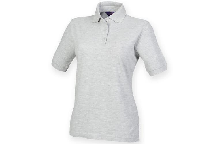 Henbury Womens/Ladies 65/35 Polo Shirt (Heather Grey) (2XL)