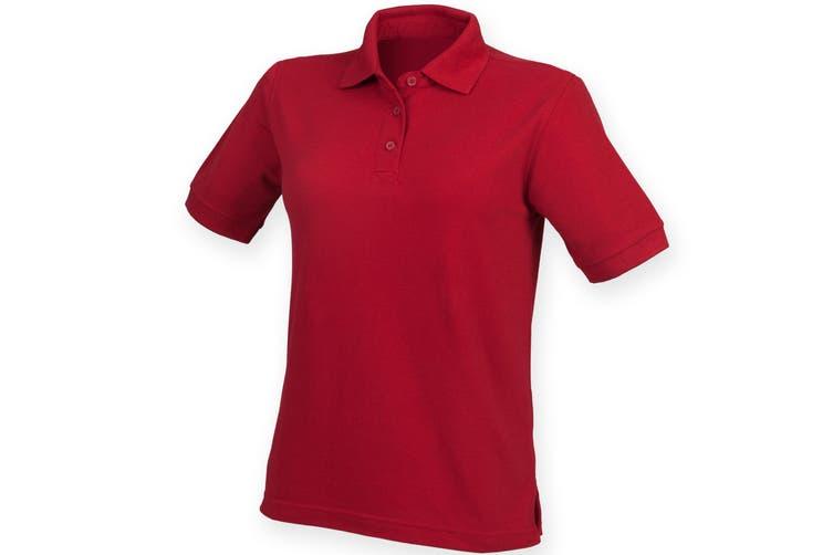 Henbury Womens/Ladies 65/35 Polo Shirt (Vintage Red) (XL)