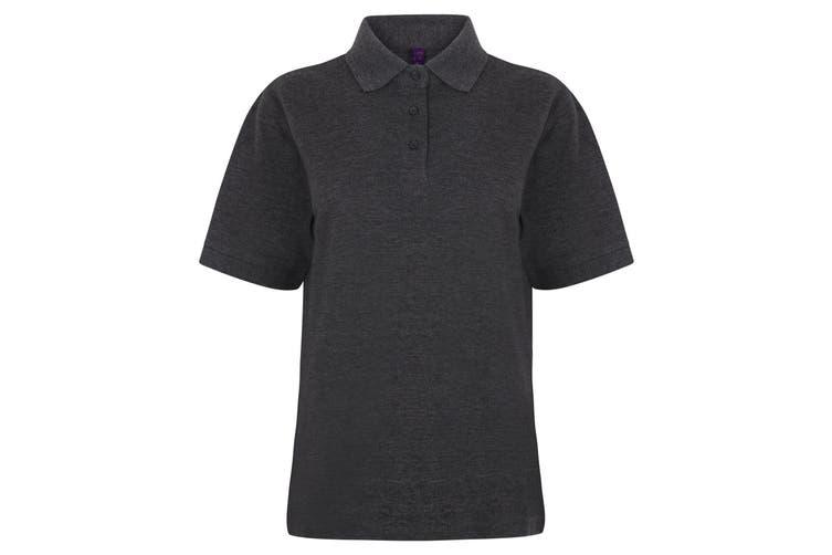 Henbury Womens/Ladies 65/35 Polo Shirt (Charcoal) (S)