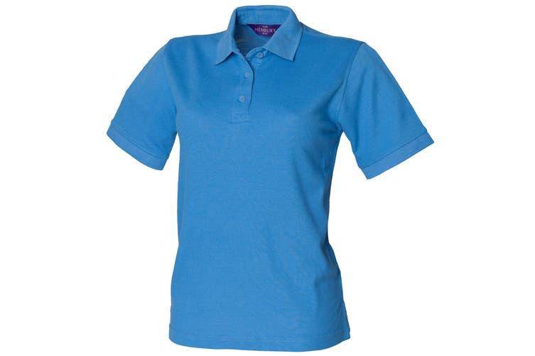 Henbury Womens/Ladies 65/35 Polo Shirt (Mid Blue) (S)