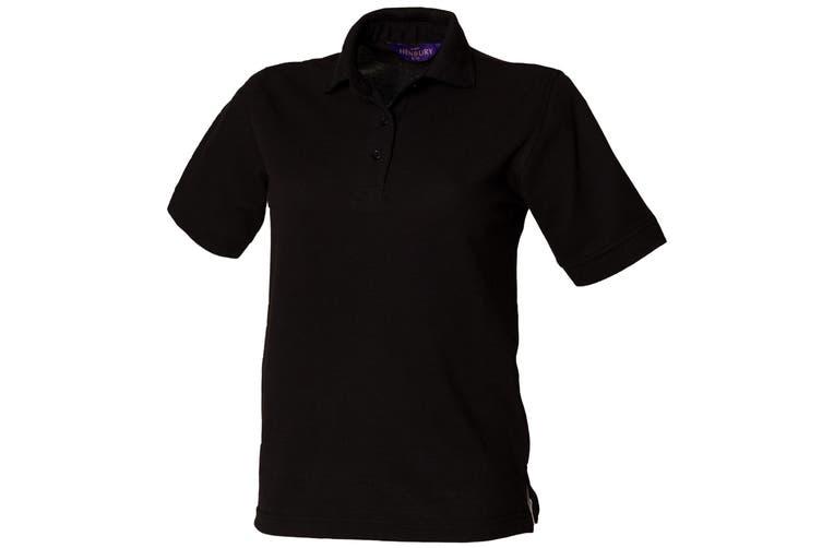 Henbury Womens/Ladies 65/35 Polo Shirt (Black) (L)