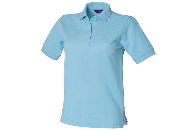 Henbury Womens/Ladies 65/35 Polo Shirt (Sky) (M)