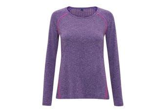 TriDri Womens/Ladies Laser Cut Scooped Long Sleeve Top (Purple Melange) (M)