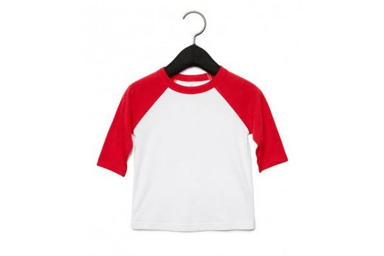Bella + Canvas Childrens/Kids 3/4 Sleeves Baseball Tee (White/Red) (L)
