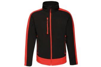 Regatta Contrast Mens 300 Fleece Top/Jacket (Black/Classic Red) (S)
