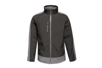 Regatta Contrast Mens 3-Layer Printable Softshell Jacket (Black/Seal) (3XL)