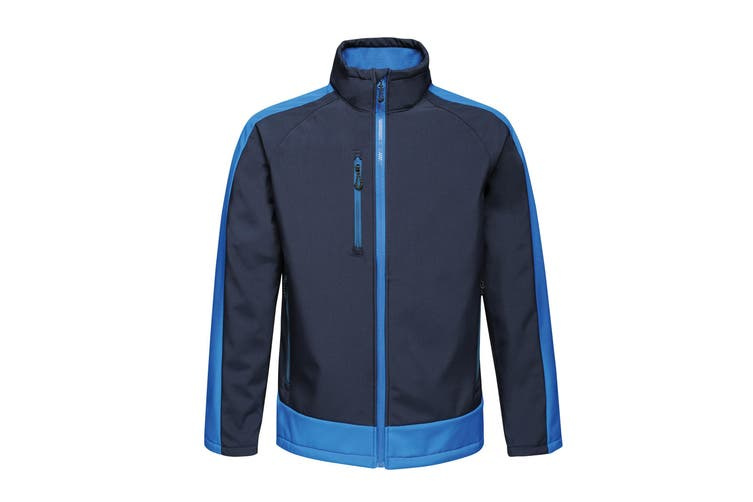 Regatta Contrast Mens 3-Layer Printable Softshell Jacket (Navy/New Royal) (S)
