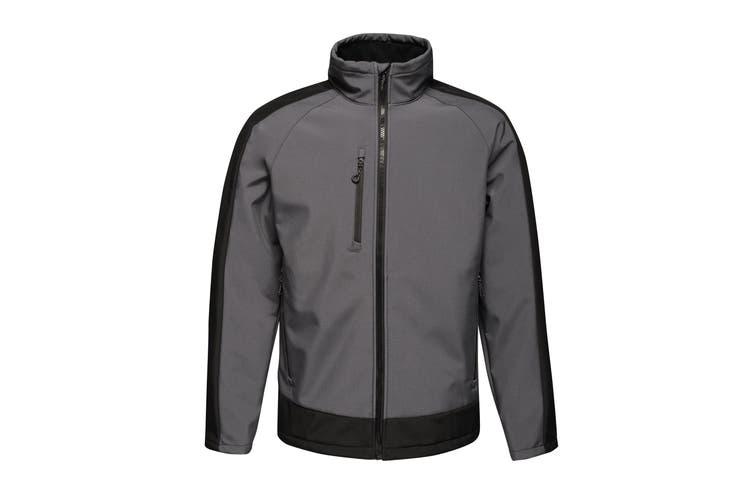 Regatta Contrast Mens 3-Layer Printable Softshell Jacket (Seal/Black) (3XL)