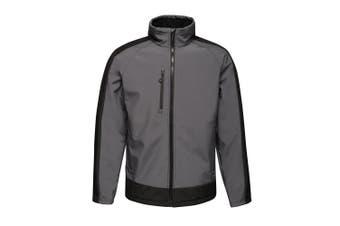 Regatta Contrast Mens 3-Layer Printable Softshell Jacket (Seal/Black) (2XL)
