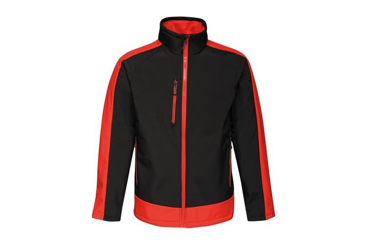 Regatta Contrast Mens 3-Layer Printable Softshell Jacket (Black/Classic Red) (XL)