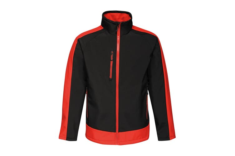 Regatta Contrast Mens 3-Layer Printable Softshell Jacket (Black/Classic Red) (XS)