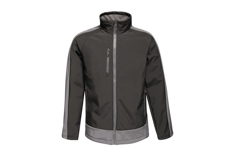 Regatta Contrast Mens 3-Layer Printable Softshell Jacket (Black/Seal) (2XL)