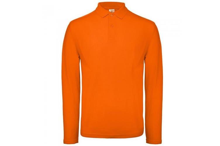 B&C Collection Mens Long Sleeve Polo Shirt (Bottle Green) (XL)