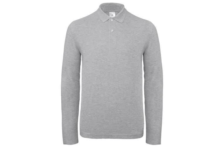 B&C Collection Mens Long Sleeve Polo Shirt (Heather Grey) (3XL)