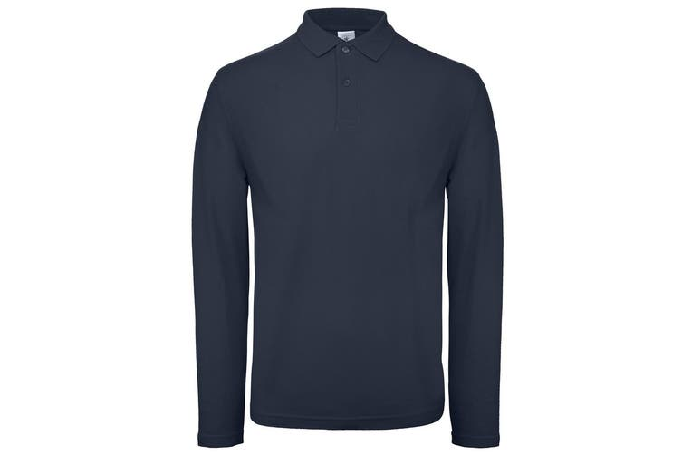 B&C Collection Mens Long Sleeve Polo Shirt (Navy) (3XL)