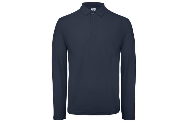 B&C Collection Mens Long Sleeve Polo Shirt (Navy) (4XL)