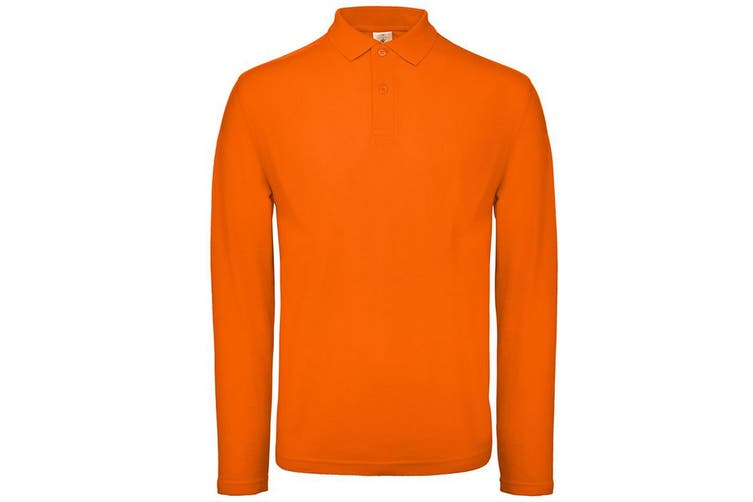 B&C Collection Mens Long Sleeve Polo Shirt (Orange) (2XL)