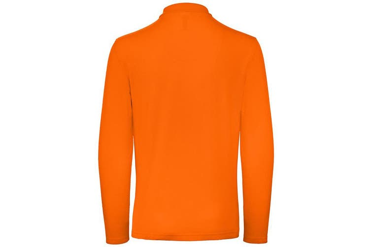 B&C Collection Mens Long Sleeve Polo Shirt (Orange) (M)