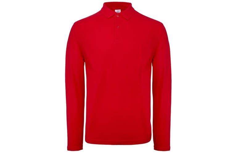 B&C Collection Mens Long Sleeve Polo Shirt (Red) (2XL)