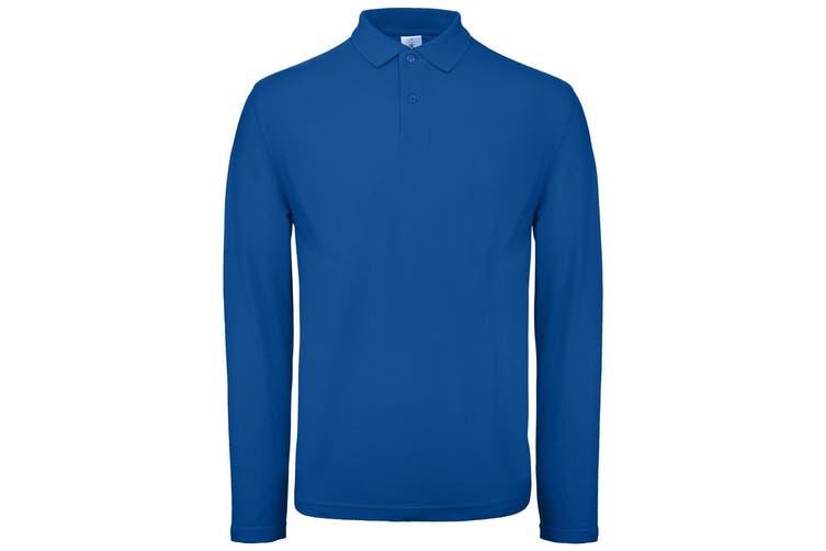 B&C Collection Mens Long Sleeve Polo Shirt (Royal Blue) (2XL)
