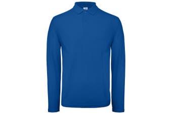 B&C Collection Mens Long Sleeve Polo Shirt (Royal Blue) (3XL)