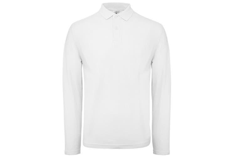 B&C Collection Mens Long Sleeve Polo Shirt (White) (XL)