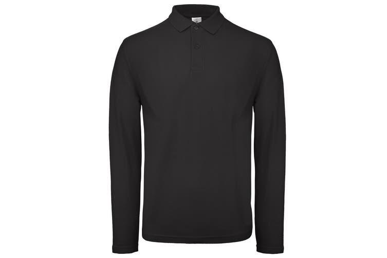 B&C Collection Mens Long Sleeve Polo Shirt (Black) (XL)