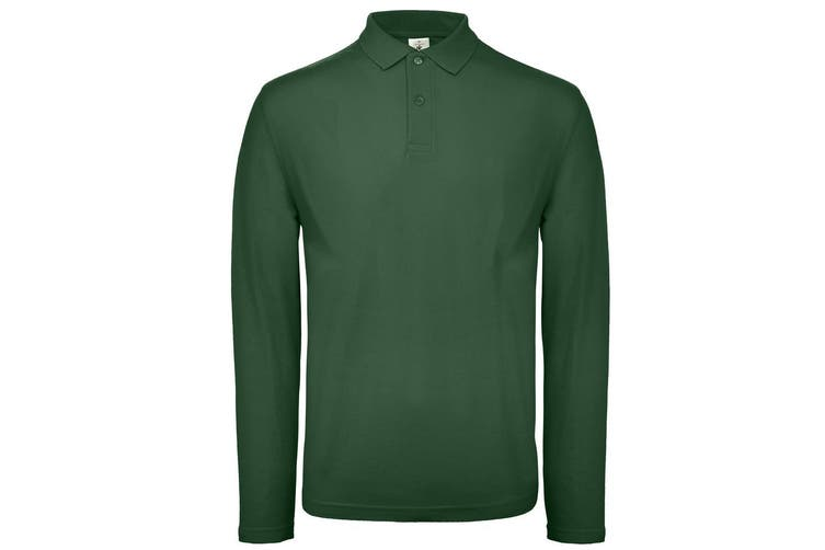 B&C Collection Mens Long Sleeve Polo Shirt (Bottle Green) (2XL)