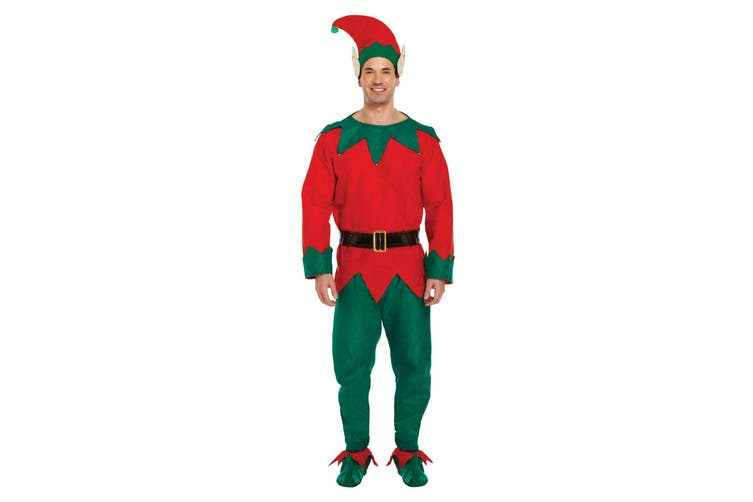 Christmas Shop Mens Elf Fancy Dress Costume (Green/Red) (S/L)