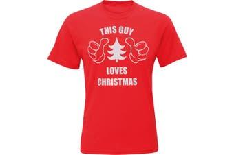 Christmas Shop Mens This Guy Loves Christmas Short Sleeve T-Shirt (Red) (L)