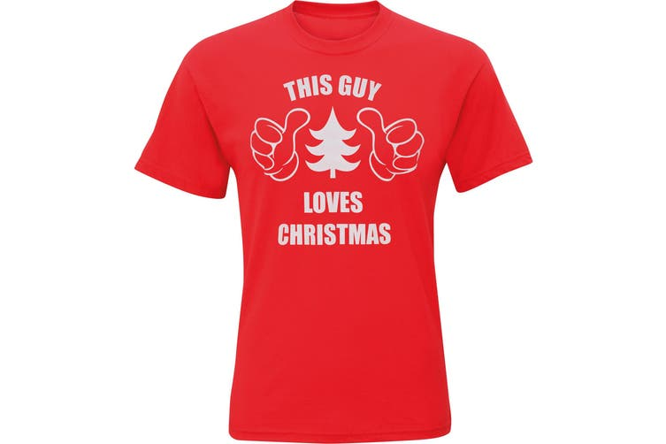 Christmas Shop Mens This Guy Loves Christmas Short Sleeve T-Shirt (Red) (XL)
