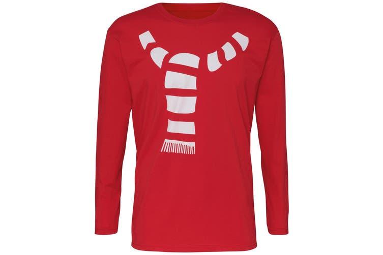 Christmas Shop Mens Scarf Long Sleeve T-Shirt (Red) (2XL)