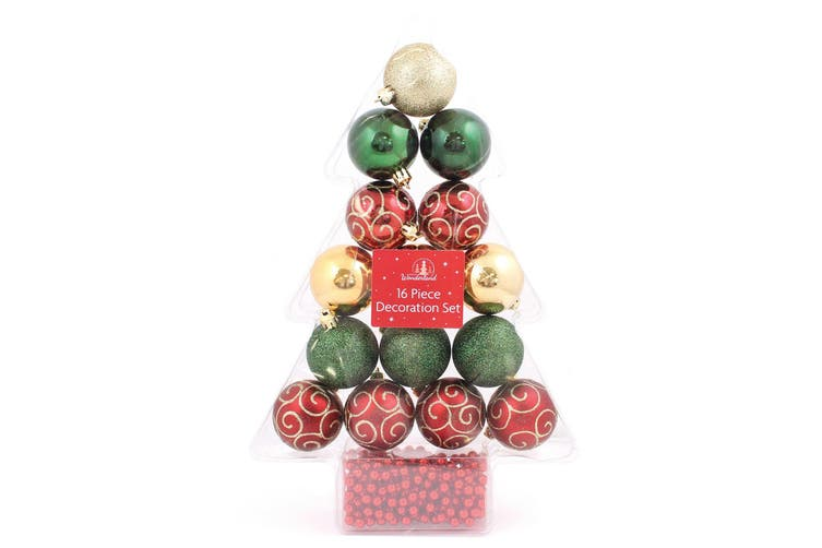 Christmas Shop 16 Piece Classic Christmas Decoration Set (Gold/Green/Red) (One Size)