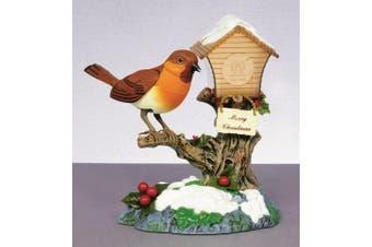 Christmas Shop Singing Rocking Robin On Birdhouse Ornament (Multicoloured) (One Size)
