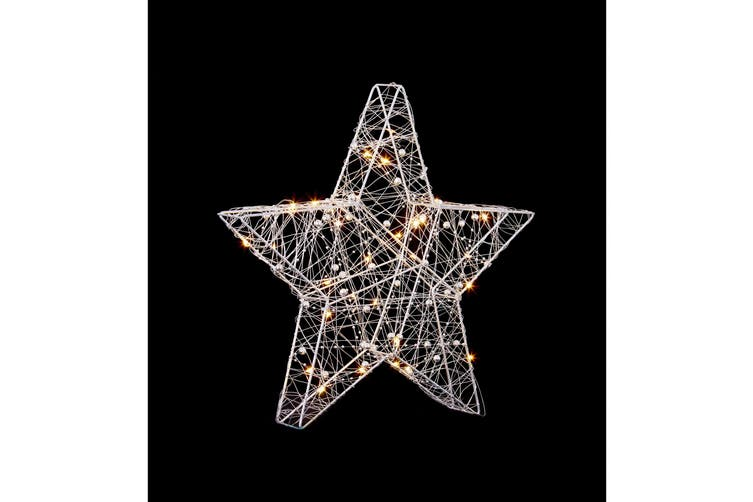 Christmas Shop Wire Star With 30 LED Lights (White) (38cm)