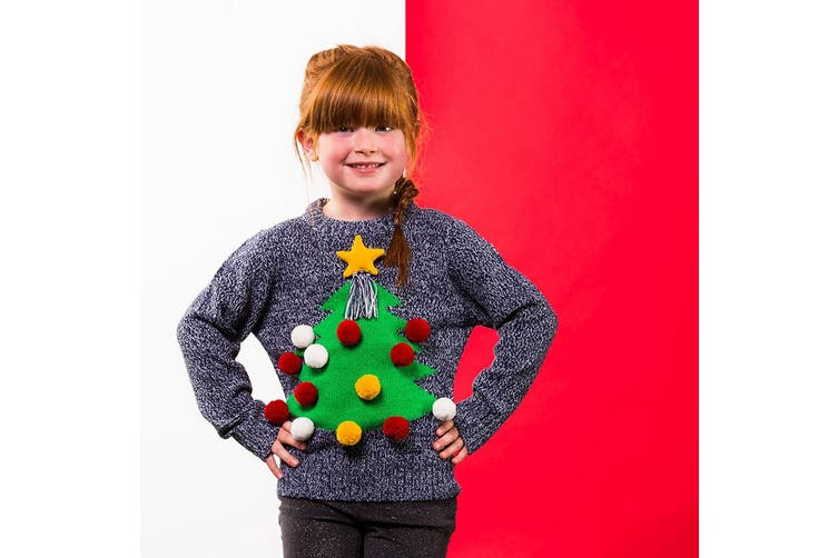 Christmas Shop Childrens/Kids 3D Christmas Jumper (Grey) (5/6 years)