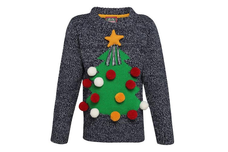 Christmas Shop Childrens/Kids 3D Christmas Jumper (Grey) (7/8 years)