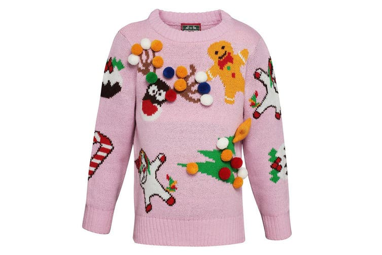 Christmas Shop Childrens/Kids Mix And Match Christmas Jumper (Pink) (9/10 years)