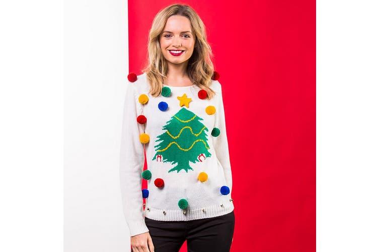 Christmas Shop Womens/Ladies Christmas Tree 3D Jumper (White) (M)