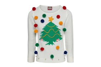 Christmas Shop Womens/Ladies Christmas Tree 3D Jumper (White) (S)