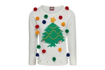 Christmas Shop Womens/Ladies Christmas Tree 3D Jumper (White) (XL)