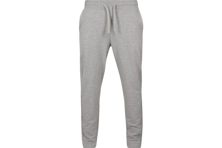 Build Your Brand Mens Terry Jogging Long Pants (Heather Grey) (L)